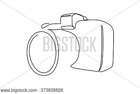 Continuous Line Drawing Of A Digital Camera. Continuous One Line Drawing Vector Illustration, In Bla