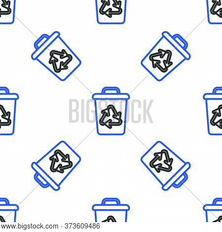 Line Recycle Bin With Recycle Symbol Icon Isolated Seamless Pattern On White Background. Trash Can I