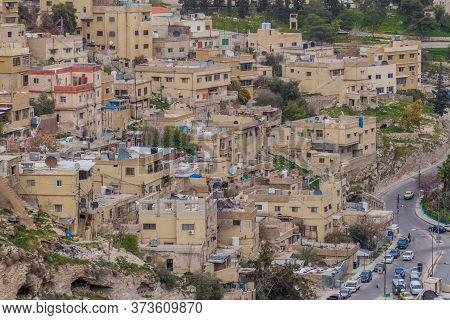 Houses On A Steep Slope In Amman, Jordan.