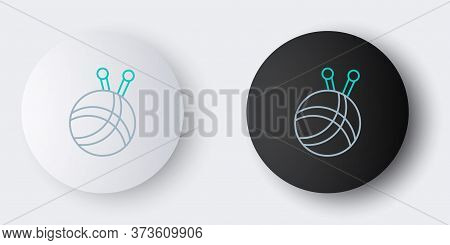 Line Yarn Ball With Knitting Needles Icon Isolated On Grey Background. Label For Hand Made, Knitting
