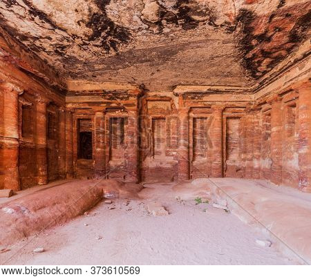 Colored Triclinium In The Ancient City Petra, Jordan