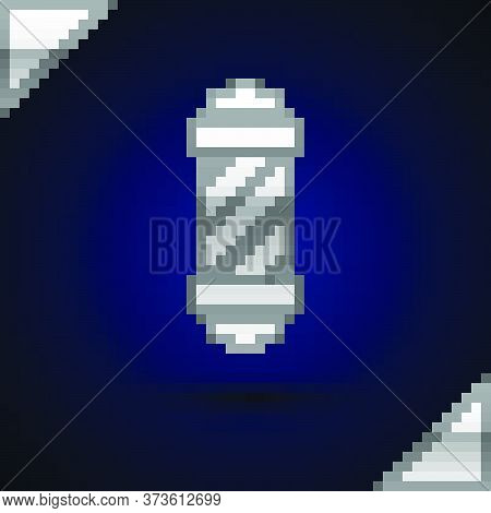 Silver Classic Barber Shop Pole Icon Isolated On Dark Blue Background. Barbershop Pole Symbol. Vecto