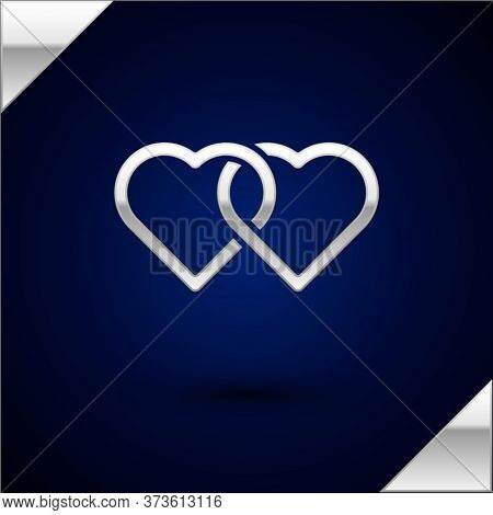Silver Two Linked Hearts Icon Isolated On Dark Blue Background. Romantic Symbol Linked, Join, Passio