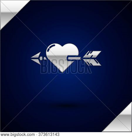 Silver Amour Symbol With Heart And Arrow Icon Isolated On Dark Blue Background. Love Sign. Valentine