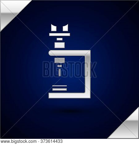 Silver Microscope Icon Isolated On Dark Blue Background. Chemistry, Pharmaceutical Instrument, Micro