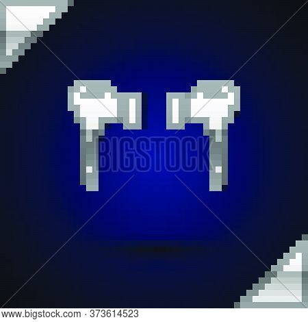 Silver Air Headphones Icon Icon Isolated On Dark Blue Background. Holder Wireless In Case Earphones