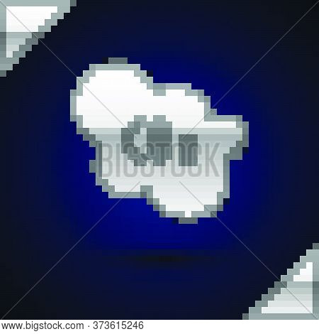 Silver Co2 Emissions In Cloud Icon Isolated On Dark Blue Background. Carbon Dioxide Formula, Smog Po