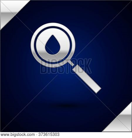 Silver Oil Drop Icon Isolated On Dark Blue Background. Geological Exploration, Geology Research. Vec