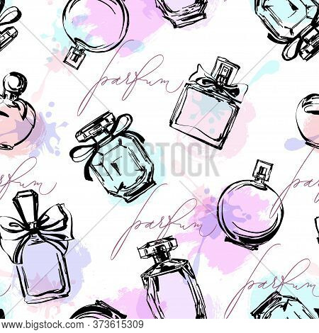 Seamless Pattern With Beautiful Bottles Of Perfume. Womens Perfume. Vector