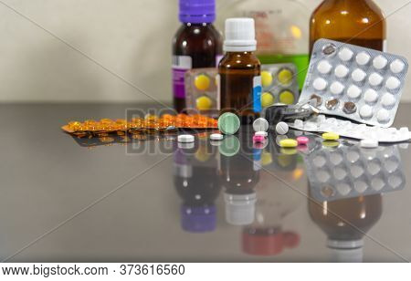 Pills And Medicines. Drugs And Medicine Capsules For Human Use. Pharmaceutical And Chemical Industry