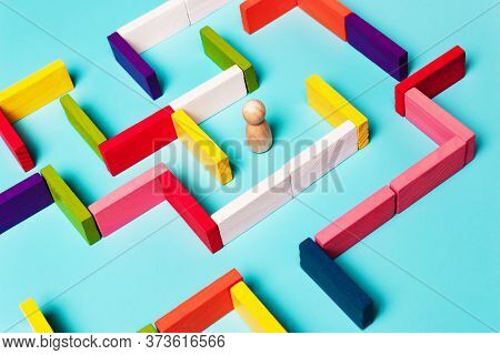 Concept Of Man In Maze, Business Strategy, Search For Analytics Ideas