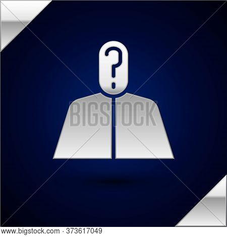 Silver Anonymous Man With Question Mark Icon Isolated On Dark Blue Background. Unknown User, Incogni