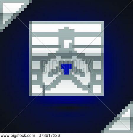 Silver Suspect Criminal Icon Isolated On Dark Blue Background. The Criminal In Prison, Suspected Nea