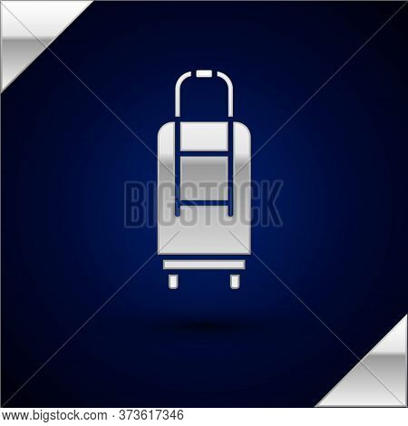 Silver Suitcase For Travel Icon Isolated On Dark Blue Background. Traveling Baggage Sign. Travel Lug