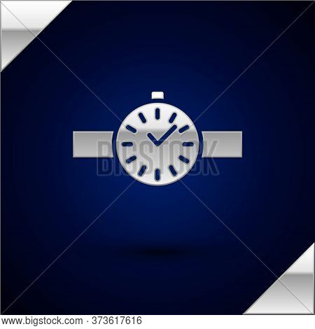 Silver Wrist Watch Icon Isolated On Dark Blue Background. Wristwatch Icon. Vector Illustration