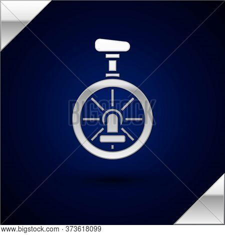 Silver Unicycle Or One Wheel Bicycle Icon Isolated On Dark Blue Background. Monowheel Bicycle. Vecto