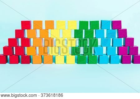 Lgbt Flag Of Cubes In A Row