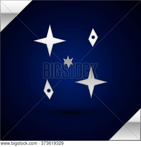 Silver Falling Stars Icon Isolated On Dark Blue Background. Meteoroid, Meteorite, Comet, Asteroid, S