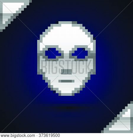 Silver Alien Icon Isolated On Dark Blue Background. Extraterrestrial Alien Face Or Head Symbol. Vect