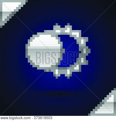 Silver Eclipse Of The Sun Icon Isolated On Dark Blue Background. Total Sonar Eclipse. Vector Illustr