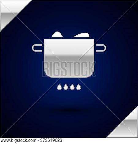 Silver Egg In Hot Pot Icon Isolated On Dark Blue Background. Boiled Egg. Happy Easter. Vector Illust