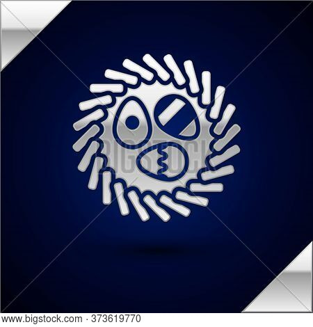 Silver Easter Egg In A Wicker Nest Icon Isolated On Dark Blue Background. Happy Easter. Vector Illus