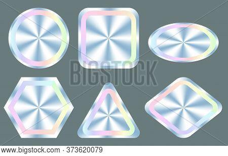Holograms Kit, Set, Bundle Of Different Shapes For Award Design, Product Guarantee, Label Design. Ve