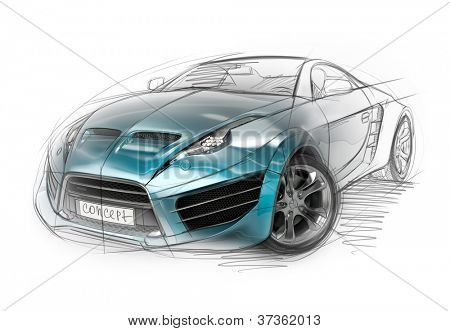 Concept car sketch. Original non-branded car design.