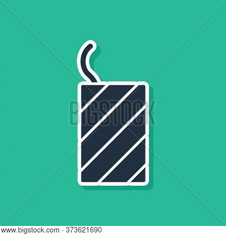 Blue Firework Rocket Icon Isolated On Green Background. Concept Of Fun Party. Explosive Pyrotechnic