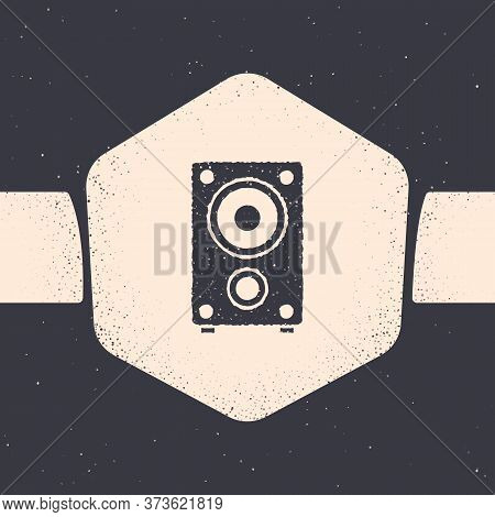 Grunge Stereo Speaker Icon Isolated On Grey Background. Sound System Speakers. Music Icon. Musical C