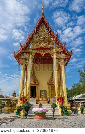 Ang Thong, Thailand - December 31, 2015: Wat Muang Buddhist Temple With Pink Lotus Petals Fountain D