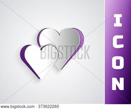 Paper Cut Heart Icon Isolated On Grey Background. Romantic Symbol Linked, Join, Passion And Wedding.