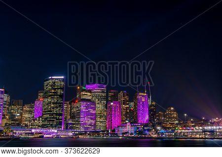 Sydney, Australia - May 27, 2016: Sydney Cbd Cityscape With Skyscrapers Illuminated During Vivid Syd