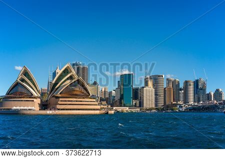 Sydney, Australia - July 23, 2016: Sydney Opera House Tourist Landmark With Sydney Cbd Cityscape
