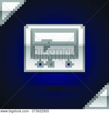 Silver Beat Dead In Monitor Icon Isolated On Dark Blue Background. Ecg Showing Death. Vector