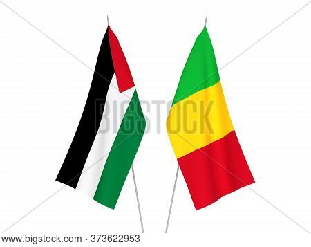 National Fabric Flags Of Palestine And Mali Isolated On White Background. 3d Rendering Illustration.