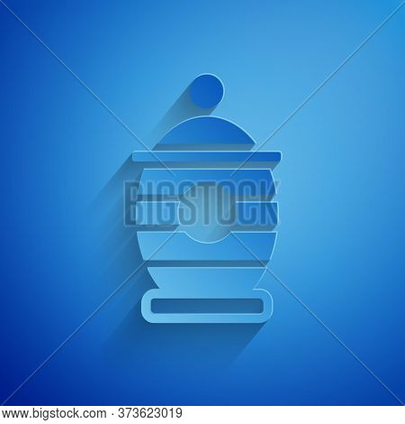 Paper Cut Funeral Urn Icon Isolated On Blue Background. Cremation And Burial Containers, Columbarium