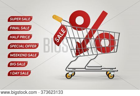 Percent Down. Shopping Trolley Cart. Sale Banner Mockup. Black Friday Discount. Real Life Pushcart.