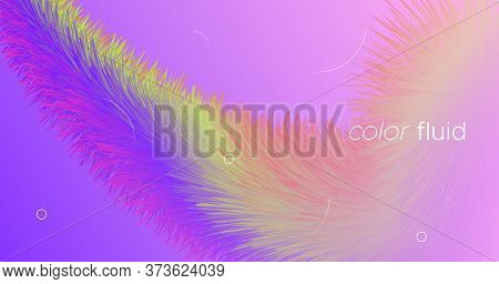 Gradient Color Fluid. Neon Background. Vibrant Motion. Vector Geometric Flyer. Bright Movement. Flow