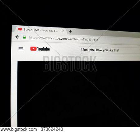 Mandalay/ Myanmar - June 27 2020: A Screen Of Youtube Platform Showing