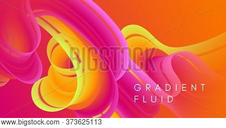 Neon Liquid Art. Red Wave Background. Gradient Template. Color Digital Shape. Geometric Motion. Mode