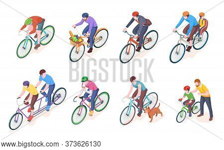 Man On Sport Bike And Father With Child Or Kid On Bicycle. Adult Men On Double Wheel And Pedal Trans