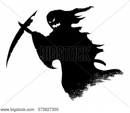 Vector Drawing Illustration Of Black Silhouette Of Creepy Or Spooky Halloween Ghost With Scythe Or D