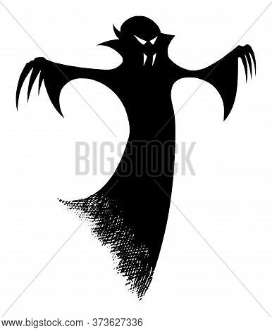 Vector Drawing Illustration Of Black Silhouette Of Creepy Or Spooky Halloween Ghost Or Undead Vampir