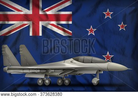 Fighter, Interceptor On The New Zealand Flag Background. 3d Illustration