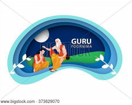 Guru Purnima Concept, Of Paper Cutout Pattern, Illustration Of Full Moon Night .