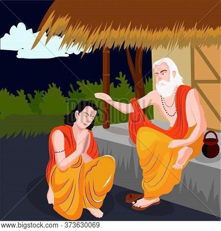 Guru Purnima Illustration Guru Or Shishya Teacher Or Student Concept Of Night.