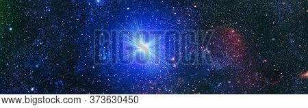 High Quality Space Background. Explosion Supernova. Bright Star Nebula. Distant Galaxy. Abstract Ima