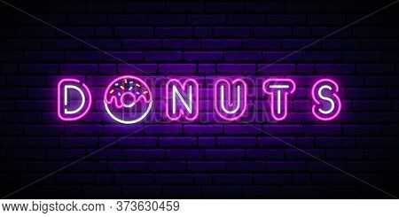 Neon Donut Signboard. Bright Horizontal Banner With Donut And Text. Stock Vector Illustration.