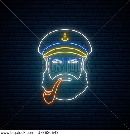 Neon Old Sailor Captain With Tobacco Pipe. Hipster Sailor Man. Bright Glowing Captain Emblem. Vector